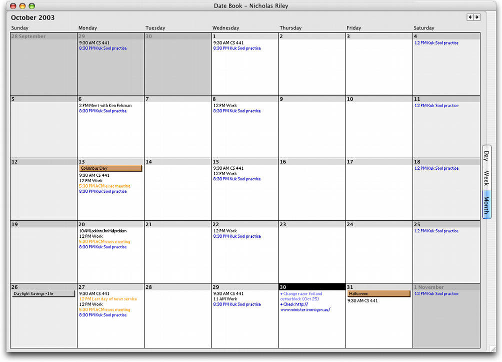njr 3.0 » Palm Desktop displaying my October 2003 calendar