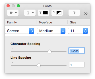 Screen character spacing
